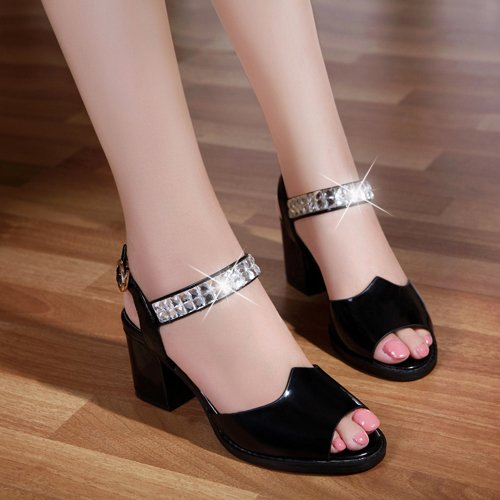 XY&GKSommer echten Fisch Mund Sandalen Frauen mit groben Modisch mit Diamond High-Heeled Sandalen Sandalen groß, komfortabel und schön 39 black
