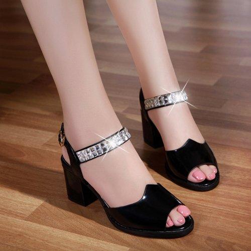Sommer Damen Mode Sandalen komfortable High Heels Black