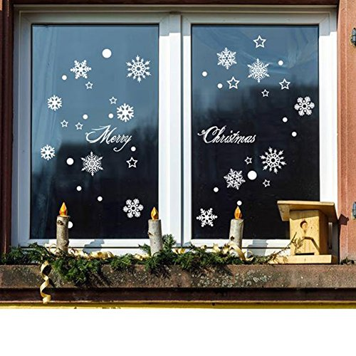 Extsud Natale Vetrofanie, 2 Pezzi Adesivi Murali Stelle Nevi Puntini Merry  Christmas, DIY Stickers Da Vetro Finestra Vetrina Decorazione Natalizia  Casa Fai ...