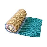 بطانية أطفال محبوكة بطانية للأطفال الصغار بلون زهري للأولاد والبنات (أزهار خضراء، 76.2 × 101.6 سم)