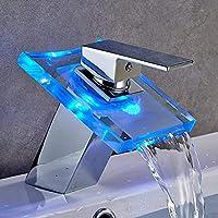 Grifo De Mezclador De Cascada De Vidrio LED De 3 Colores, Grifo De Lavabo De Baño Con Mango De Latón Mezclador De Agua Fría Y Caliente.