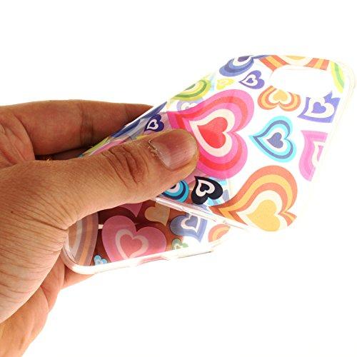 Per iPhone X,Sunrive® Custodia Cover Case in molle Trasparente Ultra Sottile TPU silicone Morbida Flessibile Pelle Antigraffio protettiva(grandi fiori bianchi) colore cuore