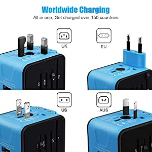 VGUARD Worldwide Travel Adapter, 4 USB Ports Universal Travel Adapter International Power Adapter Plug Adapter Converter UK USA EU AUS Asia China Ireland Thailand 150+ Countries - Blue