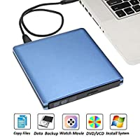 ‏‪External CD DVD Drive, USB 3.0 DVD RW Burner External CD / -ROM CD Drive CD Burner Portable Mac Laptop Burner,Blue‬‏