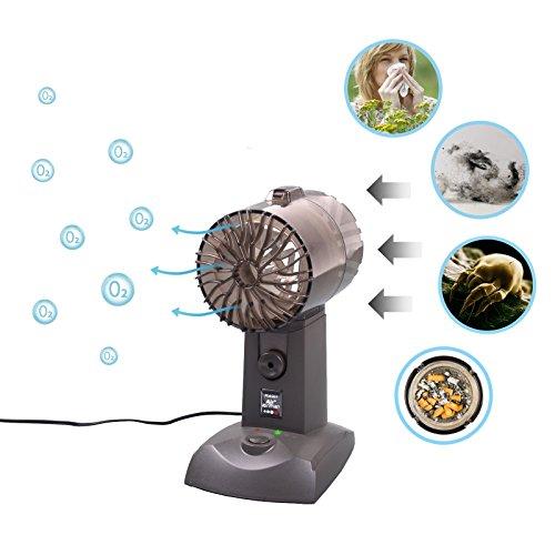 Tevigo Tisch Luftreiniger für Allergiker und Raucher | Ionisierer für den Schreibtisch, Büro, Küche | Erzeugt saubere frische Luft