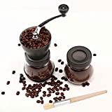 Cooko Manual Coffee Grinder, Premium Adjustable Coarseness Ceramic Burr, Portable Hand Crank Grinder for Travel or Camping, with Extra Storage Jar and a Cleaning Brush