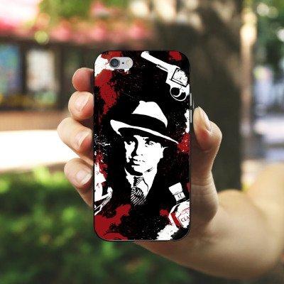 Apple iPhone 6 Housse Étui Silicone Coque Protection Al Capone parrain Mafia Gangster Housse en silicone noir / blanc