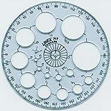 Linex 100413007 10er Pack Radiusschablone 71F Kreisschablone mit 16 Kreisen Winkelmesser 360° 115 mm Durchmesser