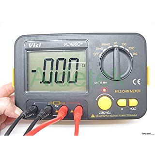 Aidetek Precision Milli Ohmmeter Vs Megger 4Wire Kelvin Clip Set 0Large LCD Backlit LCD Data Hold Manual Zero Setting