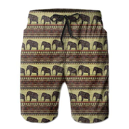 LarissaHi Pantalones Cortos de Playa para Hombre de Elefantes con Estampado Africano...