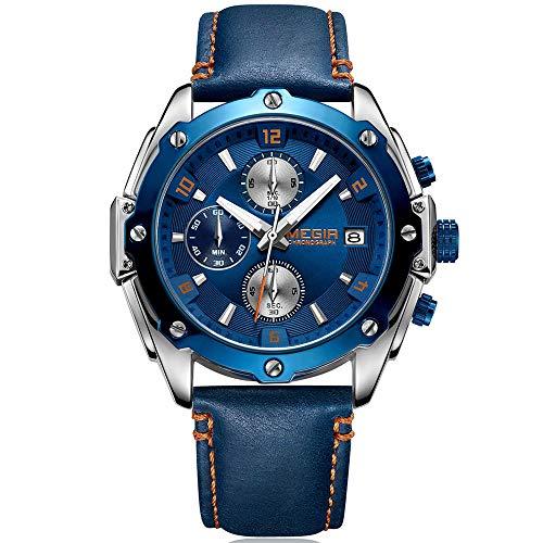 MEGIR Montre Homme Décontracté Analogique Quartz Bracelet en Cuir Bleu Cadran Bleu Chronographe et etanche Business Style Casual Luxe Montres