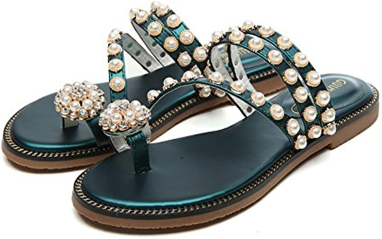 ITTXTTI Zapatillas de Mujer Perlas Planas Sandalias y Zapatillas de Moda de Verano Usan Nuevas Damas Salvaje Plano...
