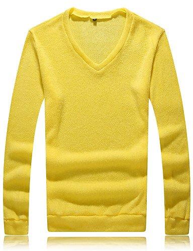 XX&GX Pullover Uomo Casual/Da ufficio/Formale/Attività sportive Tinta unita Standard Manica lunga Lavorato a mano Yellow