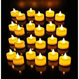 DIVENA 12 PCs Online Set Of Flame Less Battery Operated Tea Light Candles/Led Candles/ Birthday Candles/ Festival /Party Candles - White (Natural Flame)