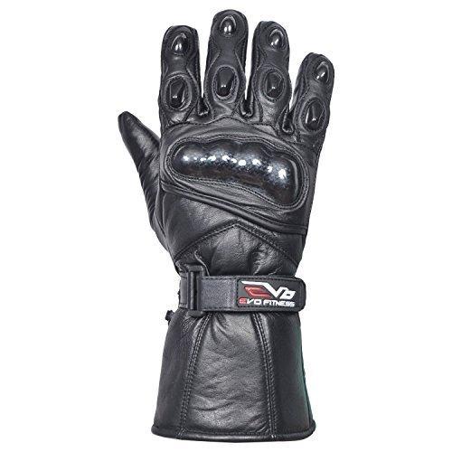 Evo Neu Ledertasche Motorrad Heavy Duty Wasserfest Winter Thermo Kohlefaser Gehäuse Handschuhe - XL