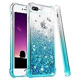 wlooo Coque pour iPhone 6 Plus, Glitter Liquide Paillette Protection TPU Bumper Silicone Housse Étincelle Pente Antichoc Souple Brillante Étui pour iPhone 6 Plus/6s Plus/7 Plus/8 Plus (Gradient Teal)