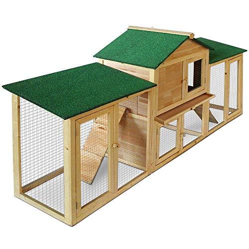 Funhobby italia srl aqpet gabbia per conigli conigliera pollaio con tetto xxl da esterno in legno componibile 204x45x84h cm