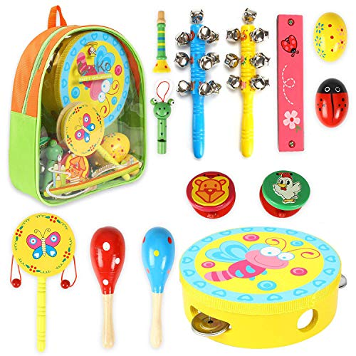 Musikinstrumente Kinder, CrzKo 15 Stück Holz Percussion Set Schlagzeug Schlagwerk Rhythm Toys Früherziehung Musik Kinderspielzeug für Kleinkinder Instrumentenset für Kinder und Baby mit Schultasche, Zufälliges Farbmuster