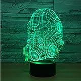 Iluminación Modelo de máscara de gas 3D LED 7 colores que cambian Sensor táctil USB Mesa de escritorio Luz nocturna USB Ambiente Lucha contra incendios