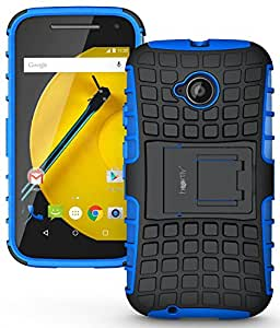 Heartly Flip Kick Stand Spider Hard Dual Rugged Armor Hybrid Bumper Back Case Cover For Motorola Moto E 2nd Generation / Moto E2 XT1505 - Power Blue