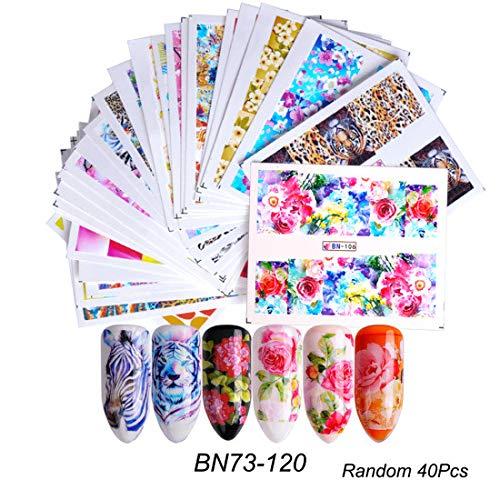 Kanggest.40 Hojas Arte uñas Pegatinas Conjunto 3D