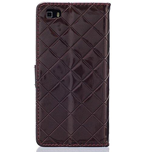 Huawei P8 Lite Honor 5X Case,mode, Gitterförmige Muster Glatte Oberfläche Design Folio Pu Ledergeldbeutel Fall Decken Mit Stehen / Kartenschlitz Huawei P8 Lite Ehren 5x ( Color : Rose , Size : Huawei  Brown