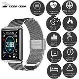 ZEERKEER Montre Intelligente à écran Tactile Complet Montre Intelligente étanche avec Tensiomètre électronique pour Android iOS Bracelet Intelligent étanche N98 (Silver)