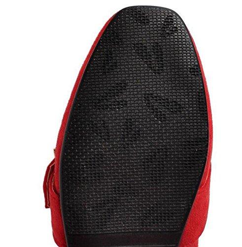 SHINIK Chaussures Femmes Fermeté-Toe Boucle en métal Suede Chaussures Simple Chaussures plates Chaussures Court Gris Rose Rouge Noir Red