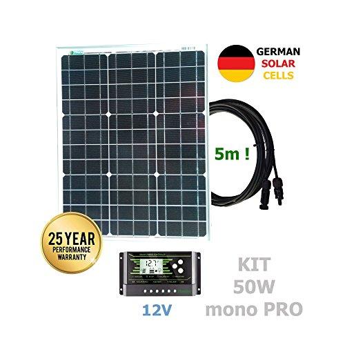 Kit 50W PRO 12V panel solar monocristalino células alemanasComposición del Kit Solar:Panel solar monocristalino 50W 12V células alemanas cable 5mRegulador solar de 20A 12V/24V con display y 2 USB LCD VIASOLAREspecificaciones técnicas:Panel solar mon...