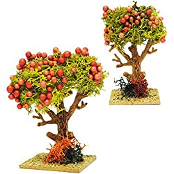alles-meine.de GmbH 3 Stück _ Kirschbäume / Bäume mit roten Früchten - Granatapfel - Miniatur - 8,5 cm - Miniatur / Maßstab 1:12 - Baum Apfel - für Puppenstube / Puppenhaus u. Ei..