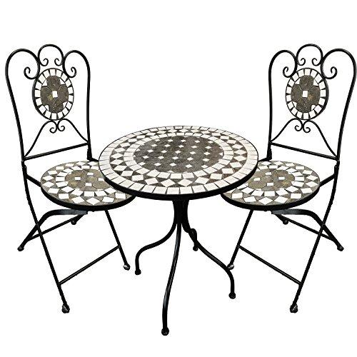 Mosaik Bistro Stuhl (Dekoratives Mosaik Set 3-teilig Sitzgarnitur Mosaiktisch + 2 Mosaikstühle Sitzgruppe Gartentisch Gartenmöbel Bistrotisch)