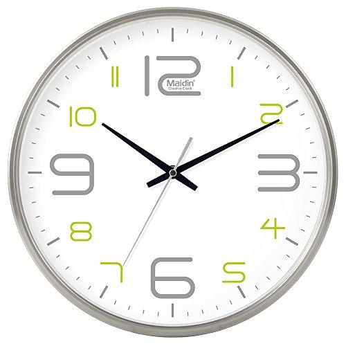 DIDADI Wall Clock Schautafel Schlafzimmer Wohnzimmer Hörraum Wanduhr Herr Ding hinter dem Kalender Uhr - Ching-stein Batterie Uhren runden-Jong-Mann, 14-Zoll, die normale Version 543 Silber