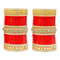 MUCH MORE Exclusive Red Color Bridal Chura Punjabi Wedding Bangles For Women
