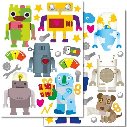 Wandsticker Set - 40 kunterbunte Aufkleber für's Kinderzimmer (Cyborg Wandtattoo)