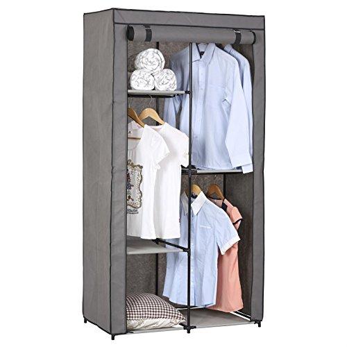 Stoffkleiderschrank Kellerschrank Faltkleiderschrankl Adam, mit 3 Kleiderstangen und 2 Regalfächern, mit Schutzhülle in Grau - 5 Verschiedene Aufbauvarianten