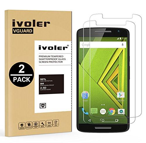 iVoler [2 Stücke] Panzerglas Schutzfolie für Motorola Moto X Play [9H Härte] [Anti- Kratzer] [Bläschenfrei] [2.5D R&e Kante]