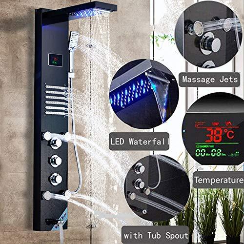Onyzpily LED Duschpaneel Säule Tower Edelstahl Dusche Wasserhahn Wanne Auslauf Handdusche Körpermassage Düsen Badezimmer Dusche Set Wasserhähne 5 Funktionen Temperaturanzeige