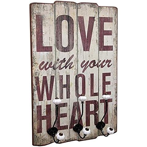 Perchero de Pared LOVE WHOLE 3 ganchos dobles 40X14X60 CM