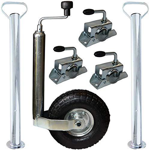 Systafex® Stützrad 3X Klemmschellen 2X Abstellstützen Set für Anhänger Bauwagen Wohnwagen Motorradanhänger