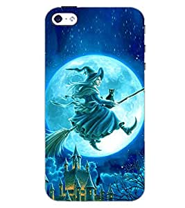 PrintDhaba WITCH WITH BROOM D-6161 Back Case Cover for APPLE IPHONE 4S (Multi-Coloured)