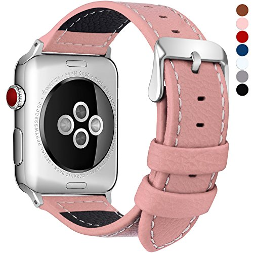 Fullmosa Compatible Correa Apple Watch 38mm Serie 3 Cuero,7 Colores LC-Jan Correa de Reloj Banda Cuero para iWatch/Apple Watch Series 3/2/1, Rosa 38mm