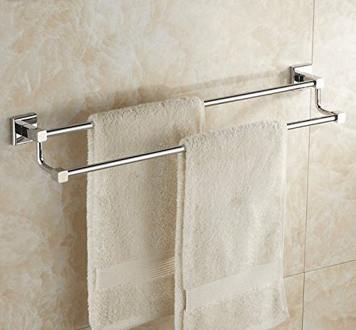 LHbox Tap Kupfer Double Bar Handtuch Rackmount-Server Halterung Badezimmer Handtuchhalter WC Edelstahl Farbe aus Schlag-, Messing-, Doppel-, Punch, 50 cm - Bar-server-möbel