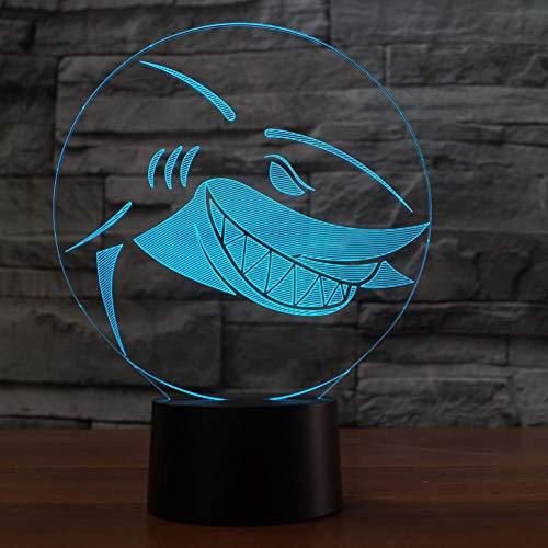 WZYMNYD 7 Farben Ändern USB Led 3D Visuelle Nachtlichter Kinder Nacht Schlaf Shark Modellierung Dekor Kinder Geschenke Kreative Tier Tischlampe
