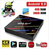[Modelo 2019] H96 MAX Android 9,0 TV Box 4GB + 32GB 4K Ultra HD Smart TV Box RK3328 Quad-Core 64bit CPU 2.4 G/5G Dual-Band WiFi 100M LAN 3D H. 265 Set Top Box con Control Remoto
