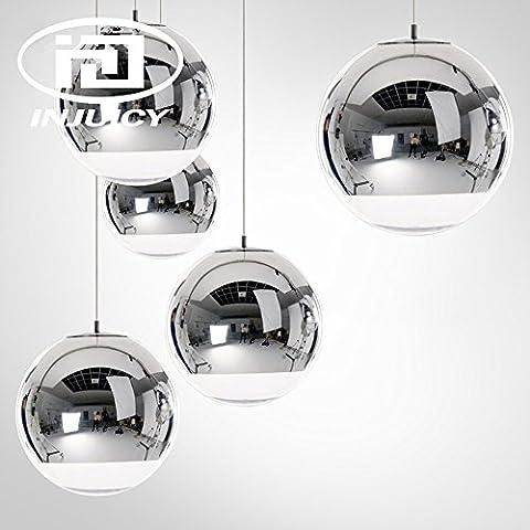 Injuicy Lighting Tom Dixon Modernen E27 LED Glas Kugel Pendelleuchten Hängelampe Silber Galvanisieren Deckenleuchte Kronleuchter Hängenden Lampen Energiesparlampe Bar Schlafzimmer Cafés Restaurants Wohnzimmer Innenleuchte Küchenlampe Im Art-Déco Geschenk (Durchmesser 150mm)