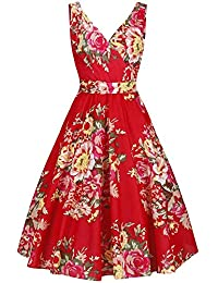 685e37f98bf7 Pretty Kitty Fashion Red Floral Print Sleeveless Rockabilly Pin Up 50s  Swing Dress