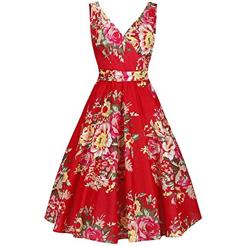 75989374c66e Pretty Kitty Fashion Red Floral Print Sleeveless Rockabilly Pin Up 50s  Swing Dress, 18,