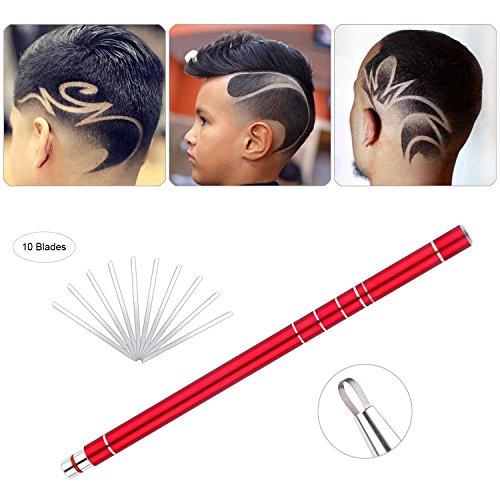 Rasierstift für Haar Tattoo, Edelstahl Salon Graviert Stift Haarscheren Set mit 10 Klingen und Pinzette (Rot)
