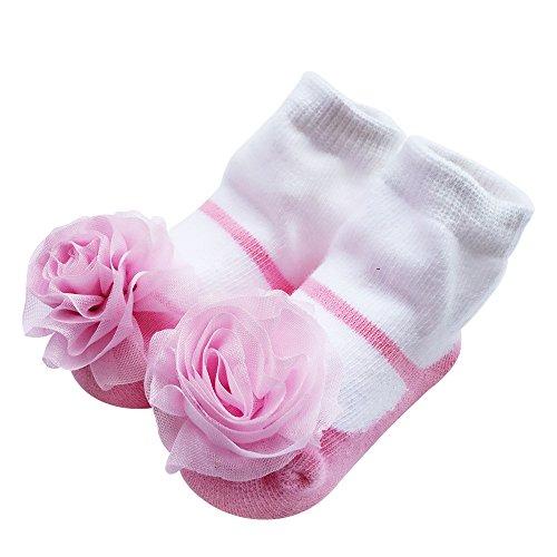 Sanlutoz Mignon bébé nouveau-né chaussettes belles chaussettes souples élastiques à la cheville pour bébé filles (0-12 mois, SOCKA004)