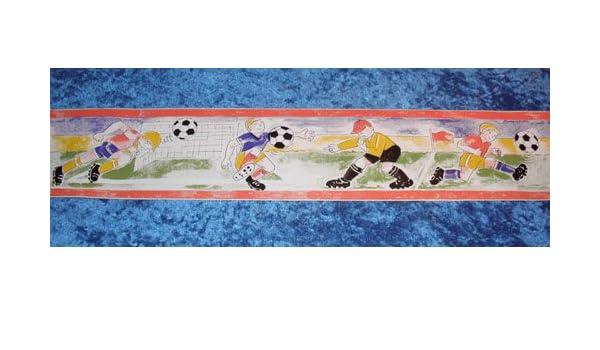 Wand-Bordüre für Kinderzimmer, selbstklebend, Motiv Fußball (2 Stück ...
